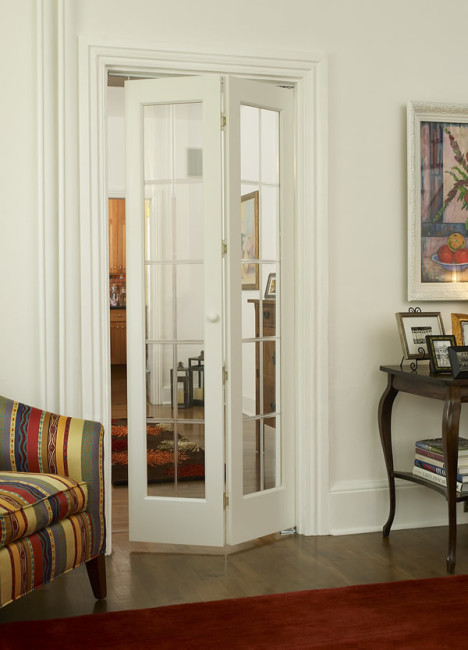 Optique Stylish Glass Bifold Door With Beveled Colonial