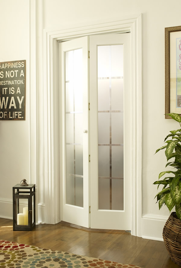 Colonial Frosted Glass Bifold Door in Unfinished or Prefinished Wood