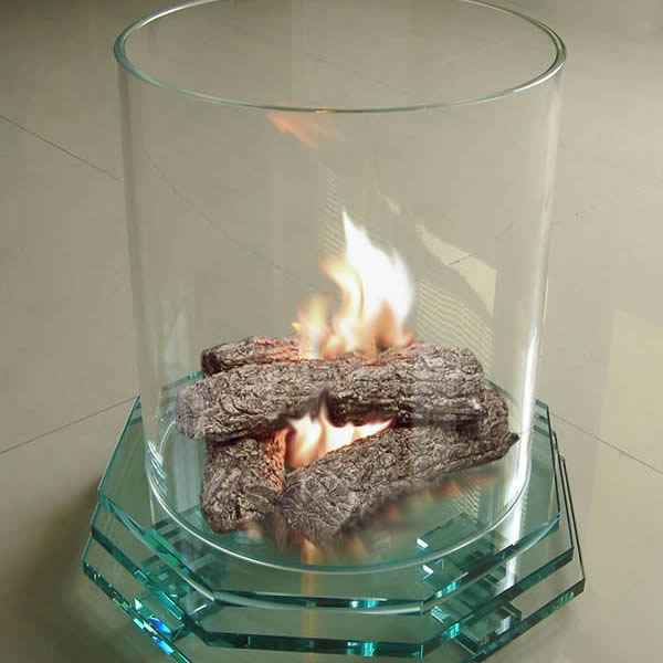 Firenze Glass Fireplace with Octagon Base