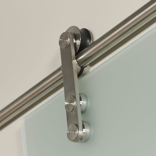 Ice and Contour Glass Barn Door - Track Detail