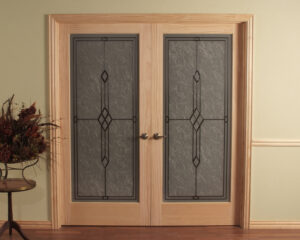 Geometric Frosted Double Passage Door