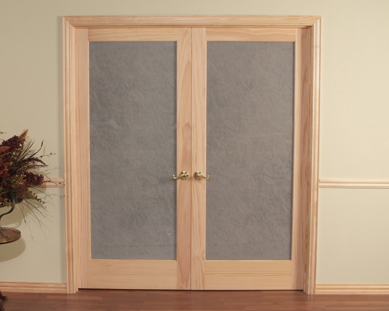 Opaque double prehung passage door frosted tempered glass for Double glass doors