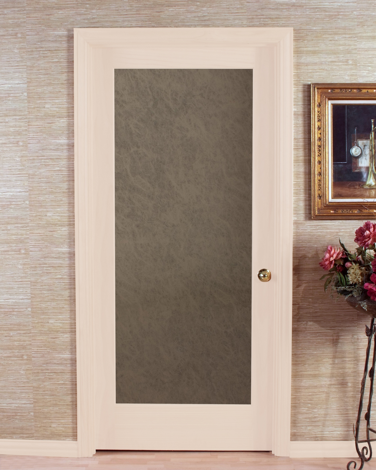 Opaque Slab Passage Door With Stylish Frosted Glass