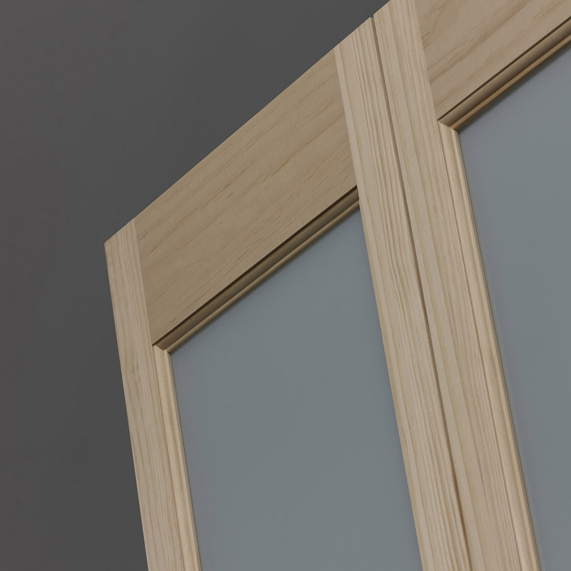 Frosted Glass Bifold Door - Half Glass - Unfinished Detail