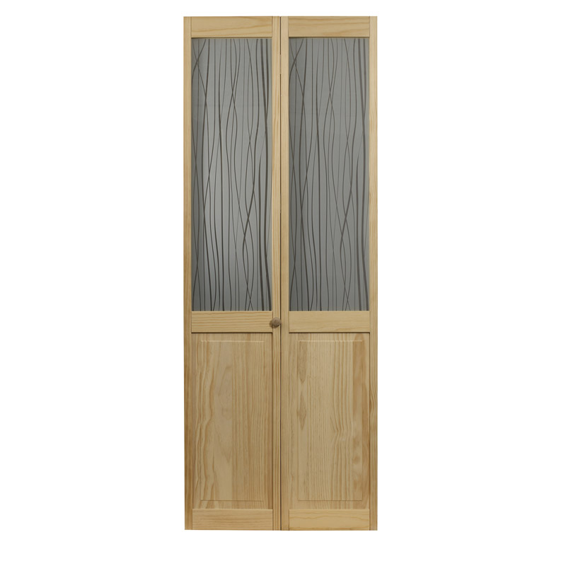 Grass Wood and Glass Bifold Door - Unfinished