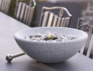 Tabletop Granite Firebowl in Grey or White Granite