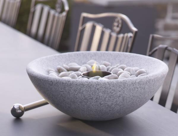 Tabletop Granite Firebowl in Grey or White Granite