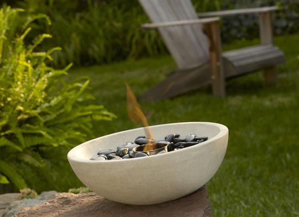 Grey Sandstone Outdoor Tabletop Firebowl
