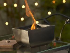 Cement and Fiberglass Firepot in Black/Brown Finish
