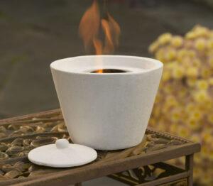 Tabletop Ivory Round Firepot