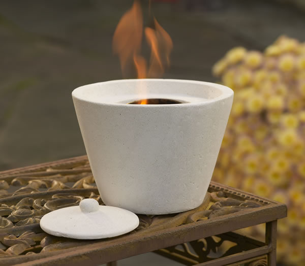 Tabletop Ivory Round Firepot