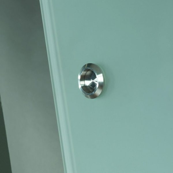 Opaque Glass Barn Door Handle Detail