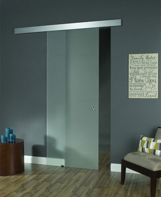 Opaque Glass Barn Door 96""