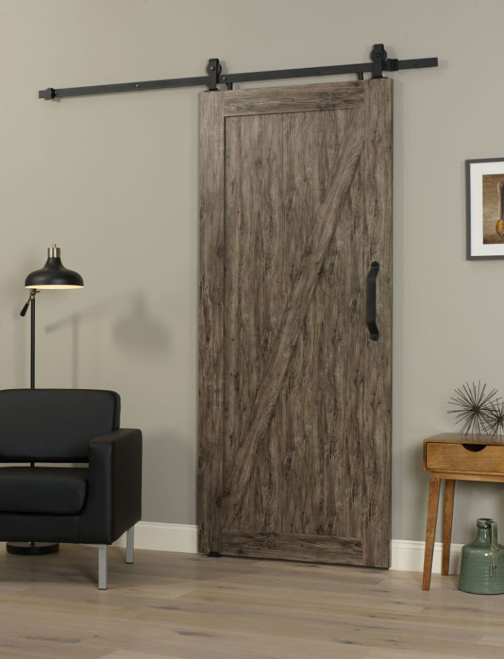 PVC Barn Door Z 36 Inch - Weathered Gray
