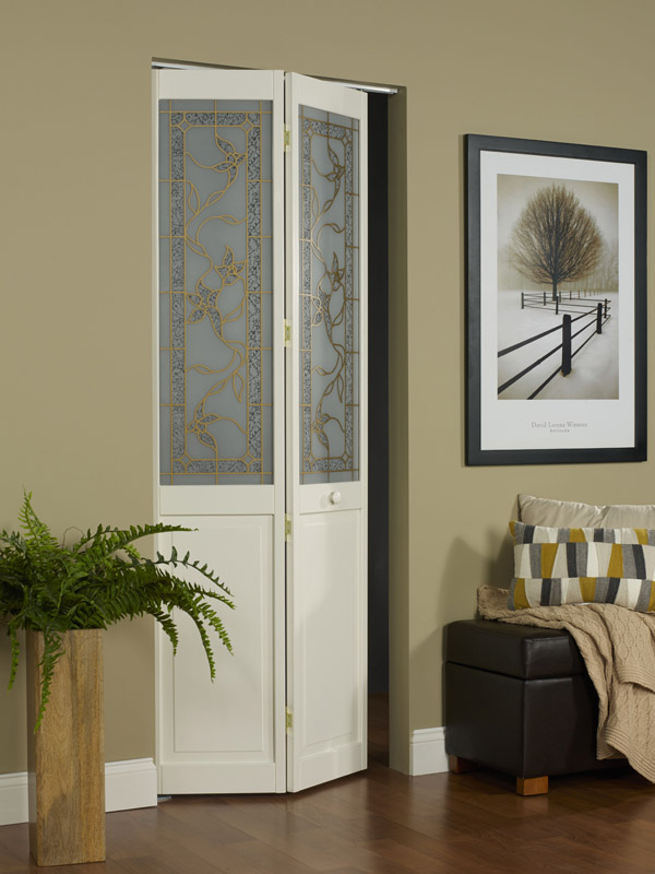 Tuscany Decorative Glass Bifold Door With Ivy Vine Design